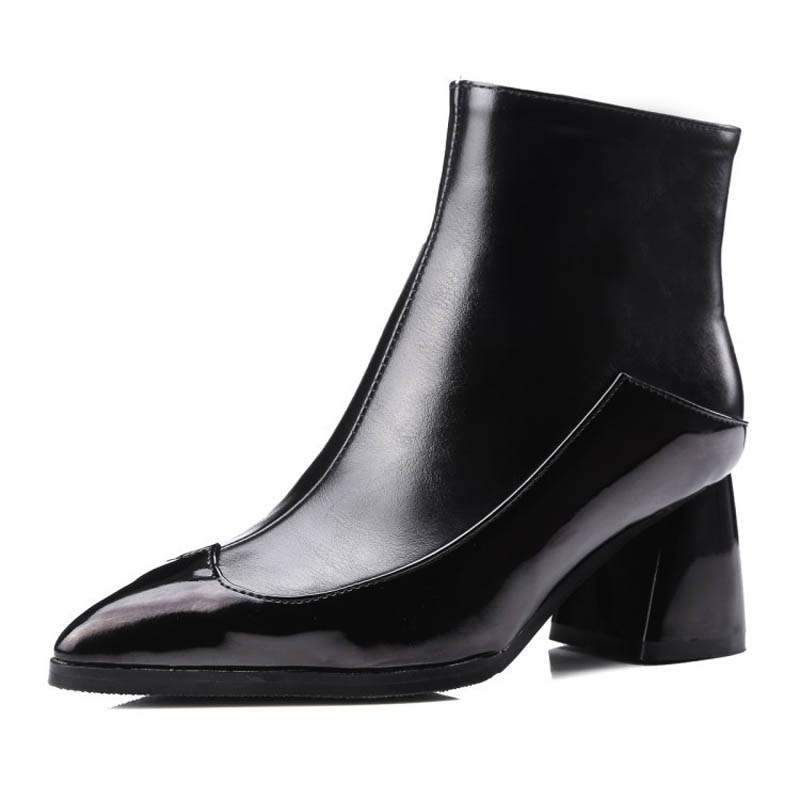 ФОТО Sexy Pointed Toe Women Motorcycle Boots Vintage Patchwork Middle Height Square Heels Ankle Boots New Ladies Casual Winter Boots