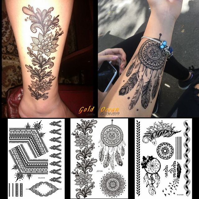 US $0.82 5% OFF|1PC Hot Black Henna Tattoo Sticker Dreamcatcher Design  GBJ013 India Sunflower Large Flower Chains Wedding Pattern Tattoo  Feather-in ...