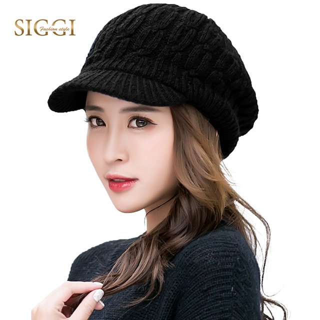 bfd8ab4d423 FANCET Women Winter Knitted Berets Warm Solid Wool Brim Fleece Hats For Girl  Soft Cute Casual Peaked Bonnets 2019 Caps 89212