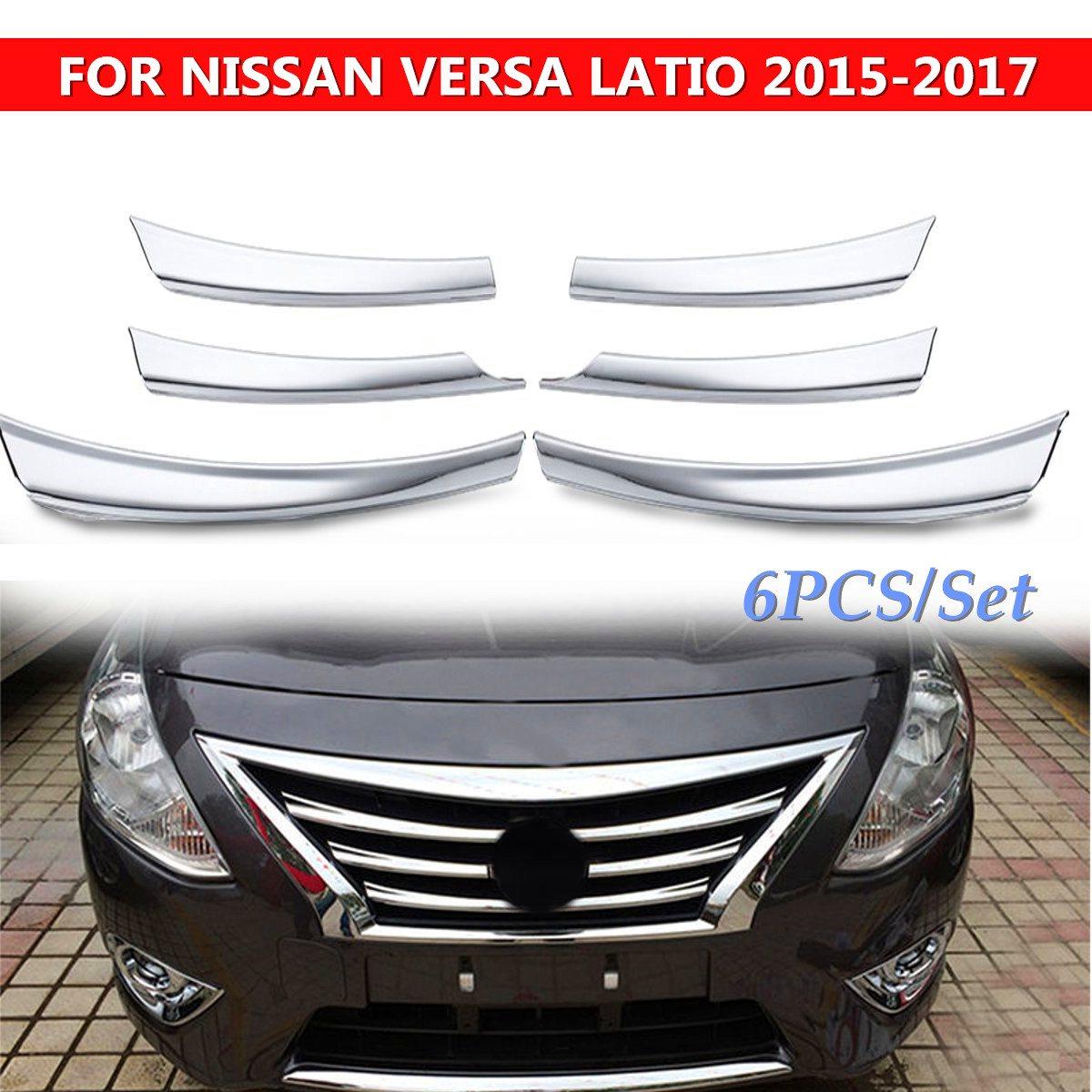 2016 Nissan Versa Exterior: 6pcs/set Car Front Mesh Grille Head Bumper Cover Trim Set