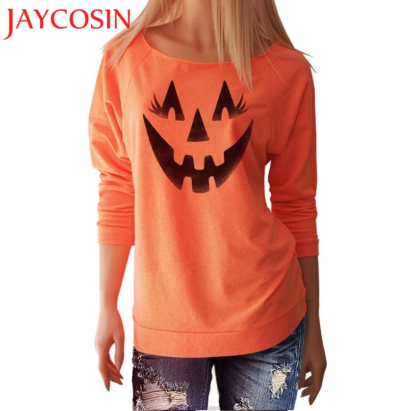 2017 Halloween Fashion Women Polyester Smile Pumpkin Long Sleeve Tops Blouse Soft Casual Cloth Festival Gift Drop Shipping 807