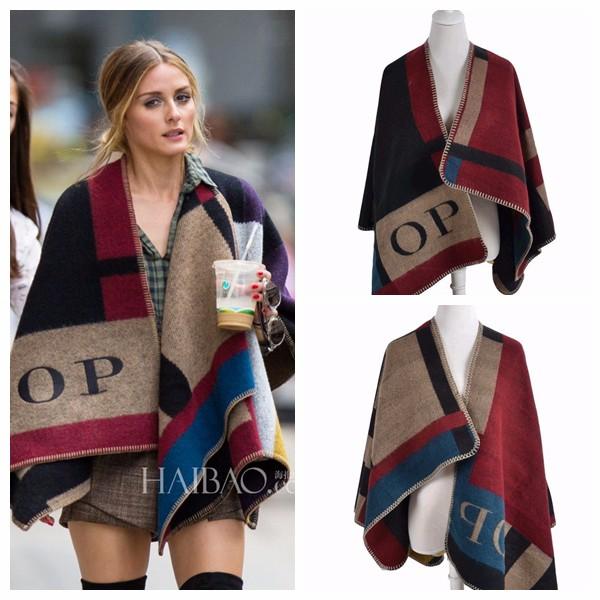 Oversized-Sweater-Cardigan-2015-Olivia-Palermo-Runway-Catwalk-Street-Snap-Knitted-Cardigan-Plaid-Cape-Poncho-Shawl