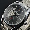 Marca Freqüentador de Relógio de Homens De Aço Cheio Relógios Mecânicos Automáticos Dos Homens Tourbillon Fase Da Lua Relógio Cronógrafo Relogios Masculino