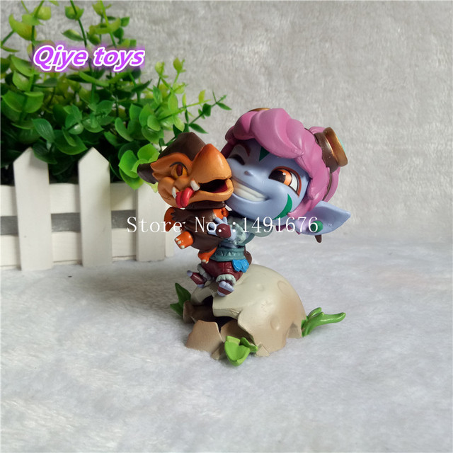 Qiye toys LOL Tristana the Megling Gunner 10cm 3.9'' Q Version PVC Cosplay Garage Kit Action Figures Toys GK Model Doll gift