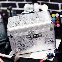 Aluminiumlegierung Kosmetik-box Make-up Tasche Organizer Reisetasche Tragbare Geschenkbox Professionellen Kosmetik