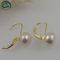 White Color Freshwater Pearl Earrings AA 10 11MM Natural Pearl Jewellery Fine Jewellery Perfect Lady's Wedding Party Gift