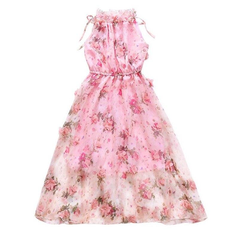 DFXD New Fashion Teens Girls Bohemian Summer Flower Print Dress 2018 Top Quality Beach Chiffon Princess Dress 5 14Years