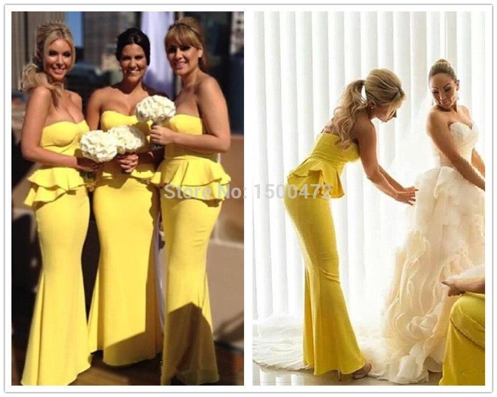 Amarillo brillante Peplum Sirena larga Vestido de Dama de honor 2015 ...