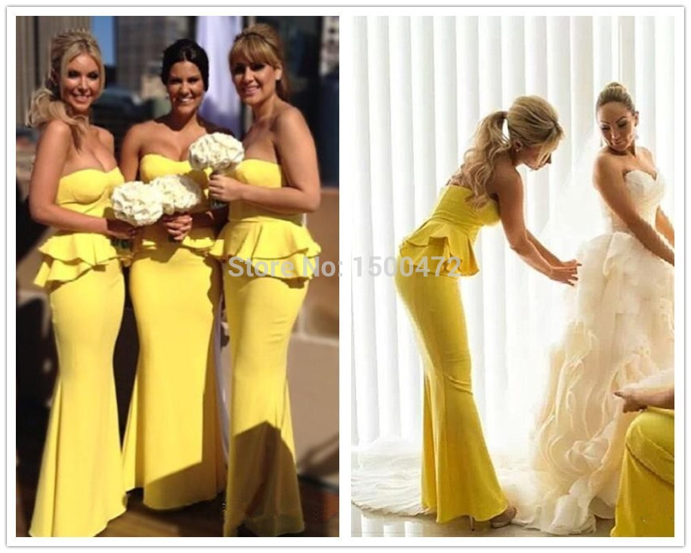 Bright Coloured Bridesmaid Dresses: Bright Yellow Peplum Long Mermaid Bridesmaid Dress 2015