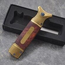 8.2'' Tactical folding knife wood handle steel blade camping survival pocket pra