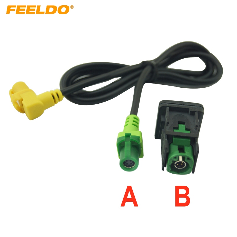 FEELDO Car OEM RCD510 RNS315 <font><b>USB</b></font> Cable With Switch For <font><b>VW</b></font> <font><b>Golf</b></font> MK5 MK6 VI <font><b>5</b></font> 6 Jetta CC Tiguan Passat B6 Armrest Position #1698 image