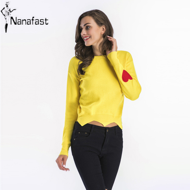 New 2018 Spring Heart-shaped Embroidery Round Neck Long sleeve Knit Sweater Ladies Short Design Tops Casual Pullovers