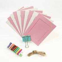 Каждый вечерние 10 шт. розовые синие бумажные рамки с зажимами и 2 м веревкой 6 дюймов настенные фоторамки DIY Висячие картины альбом украшения дома