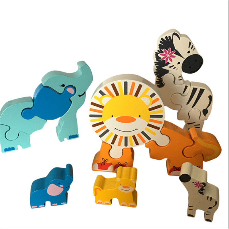 Cartoon Animal Wooden Puzzle 3D Toys For Children Elephant Zebra Lion Jigsaw Puzzle Games Learning Education Popular Toys
