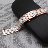 14mm 16mm 18mm 20mm 22mm White Ceramic Watchband Strap Bracelets Fashion Watch Accessories Rose Gold Metal