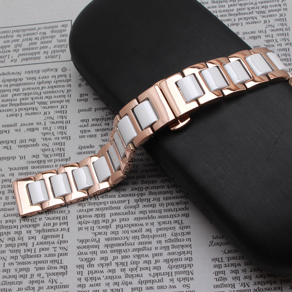 14mm 16mm 18mm 20mm 22mm White Ceramic Watchband strap bracelets fashion watch accessories Rose gold metal butterfly deployment 16mm ceramic