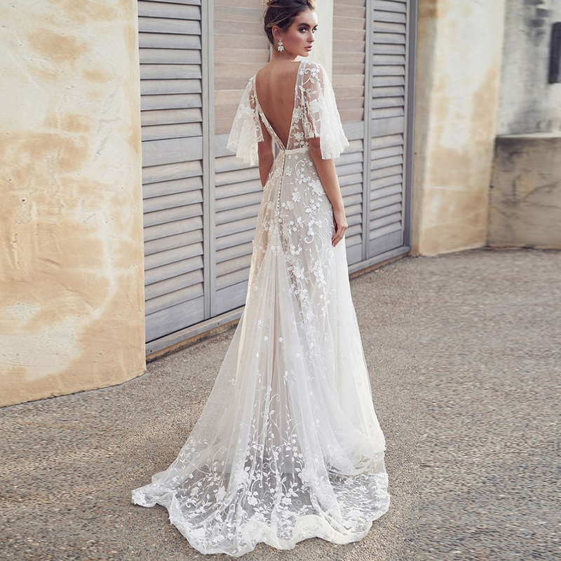 Mesh Embroidery Fishtail Mopping Dress  White Sexy Lace V-neck Short Sleeve Halter Party