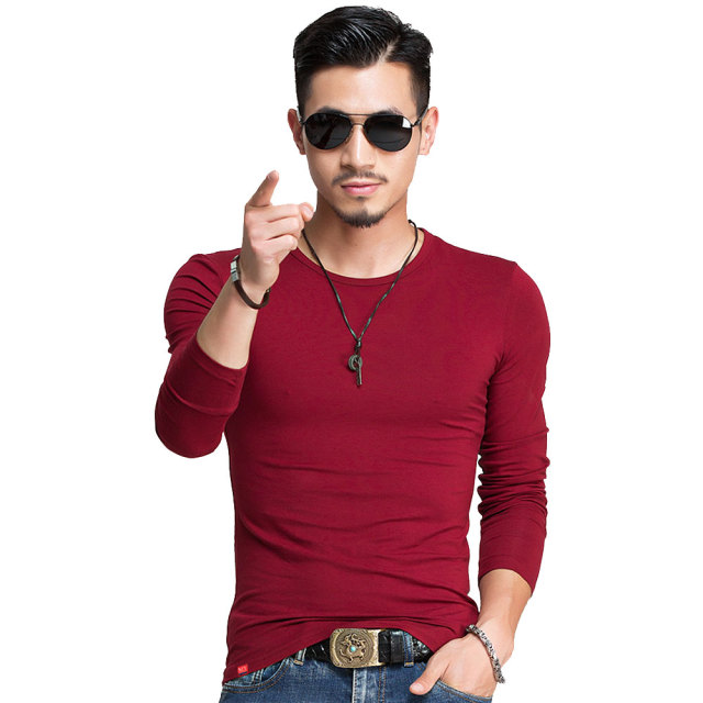 Spring Fashion Brand O-Neck Slim Fit Long Sleeve T Shirt