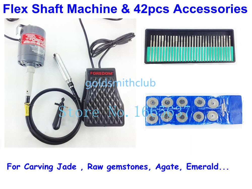 Promotion Flex Shaft Machine CC30 Motor for Carving Jade Raw gemstones Agate Emerald 42pcs Accessories цены
