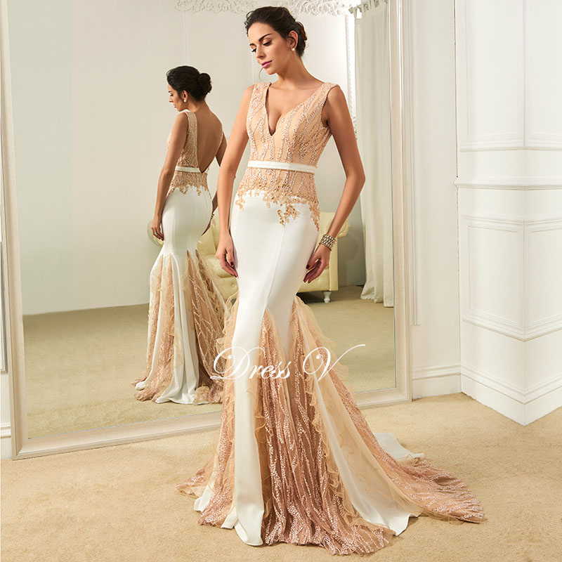 Dressv Mermaid Lace Wedding Dress Sexy Beading Sequin Backless V Neck Sleeveless Sweep Train Vintage Dresses Bridal Gown In From