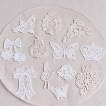 Lace Applique 5Pcs/Lot Garment Sewing Patch White Embroidered Fabric Trims 19525