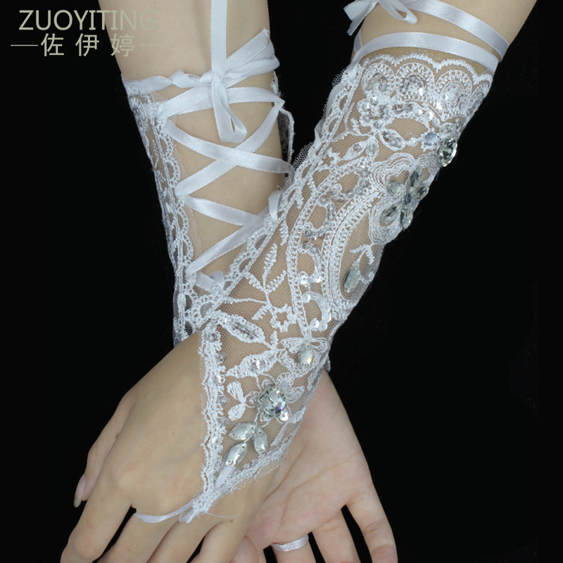 ZUOYITING Настоящее зашнуровать без пальцев Opera Длина Свадебные перчатки Длинные кружева горный хрусталь Свадебные перчатки с кольцом Свадебные аксессуары