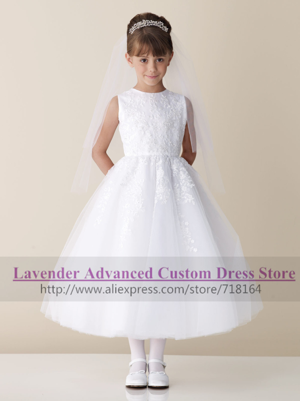 a297a02598f Vintage elegant long A line white ivory rustic flower girl dress for  wedding kids Special occasion Christmas party pageant gowns