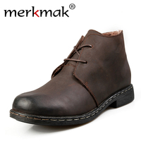 British Style Vintage Men Boots Crazy Genuine Leather Martin Men Autumn Boots Water Proof Work Hiking