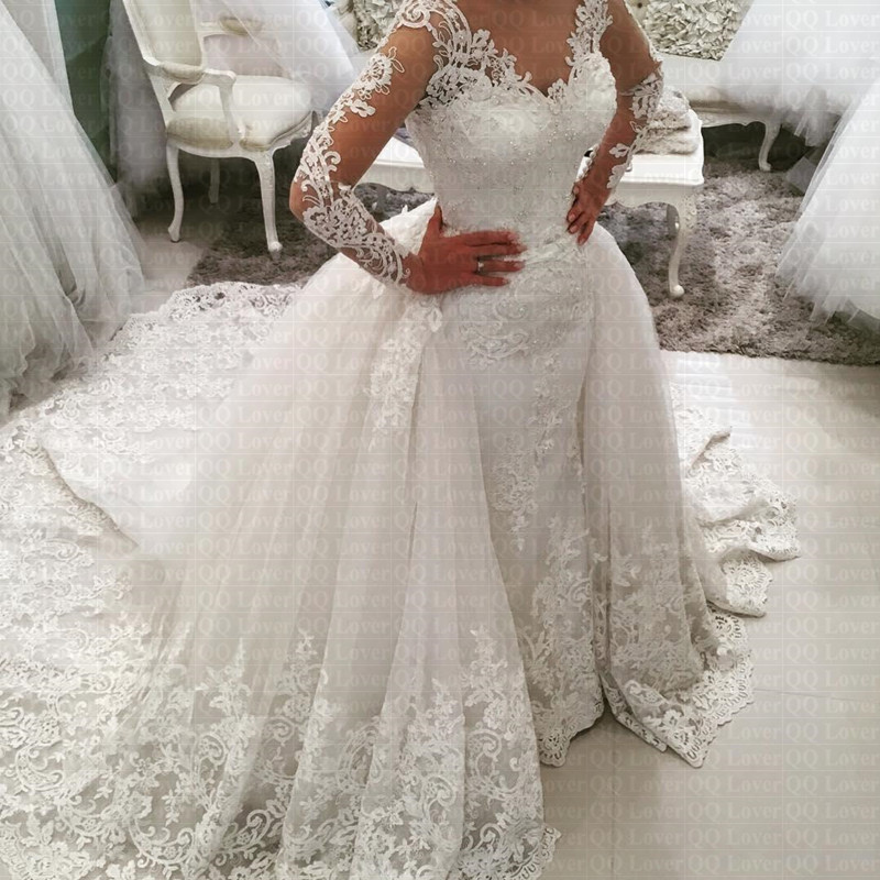 2019 New Arabic Amazing Detachable Train Mermaid Wedding Dress Long Sleeve Lace Bridal Gown Wedding Gowns