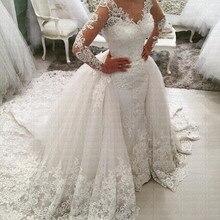 2019 New Arabic Amazing Detachable Train Mermaid Wedding Dress