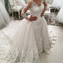 2020 nowy arabski niesamowite odpinany pociąg syrenka suknia ślubna z długim rękawem koronkowe suknie ślubne suknie ślubne