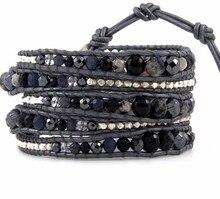 Leather bracelet Charm men jewelry bracelet  mutilayer bracelets handmade semi precious stone beads wrap charm bracelets bangles