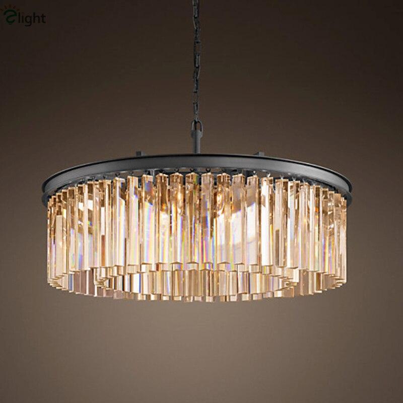 Vintage américain métal noir gris/ambre/cristal clair rond pendentif lumière Lustre K9 tubulaire cristal hôtel suspension