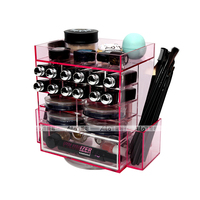 Hot Sale Ailla Pink Acrylic Makeup Organizer Rotating Cosmetic Tool Cases Jewelry Storage Holder