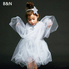 B&N Princess Girl Dress Long Sleeve Tutu Sequins Star Sweet New Autumn Party Baby Dresses Loving Mesh Girls Clothes