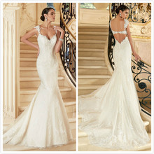 2015 New Designed Lace Mermaid Wedding Dress Sexy Bridal Gown Custom Size 2-4-6-8-10-12-14-16-18 WD1505 2015 4 13 coloor 8 14 men