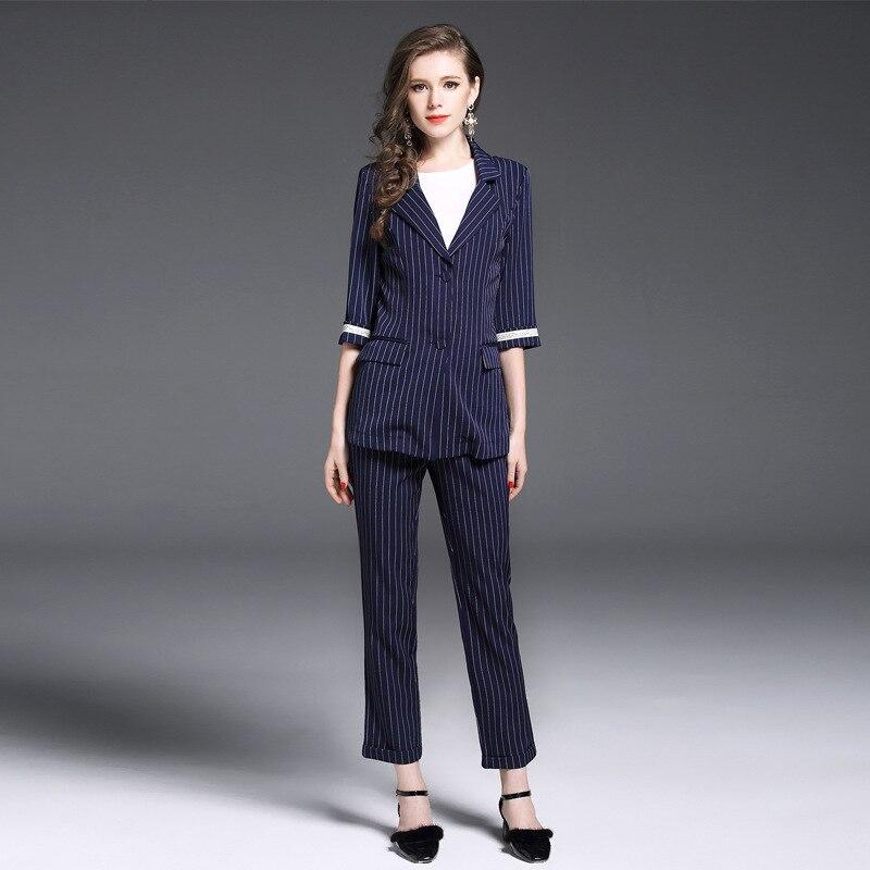 Shop3010017 Store  ZIYI 2017 Women's 2 Piece Pant Suits Women Casual Office Business Suits Formal Work Wear Sets Stripe Pant Suits Vestidos Mujer