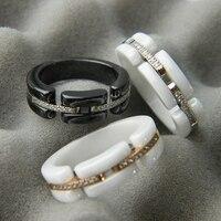 צדף לבן ספרות רומית אוניקס השחור העגול יחיד באיכות גבוהה זירקון AAA מותג זוג טבעות טבעת לנשים מתנה לחג המולד