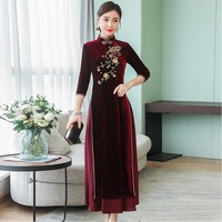 Spring Autumn Cheongsam dress Chinese Traditional Dress Vietnam ao dai Embroidery