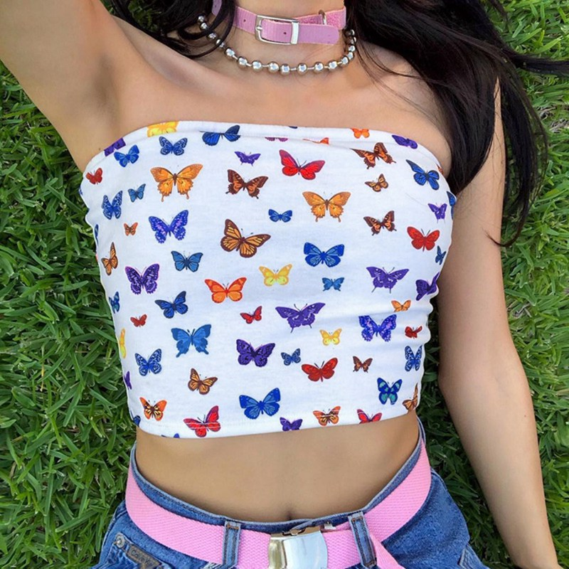 Sexy Butterfly Print Cotton Navel Wrapped Breasts Tank Tops Underwear Women's Summer Short Strapless Camisole Top Women