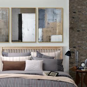 Image 2 - HAOCHU Drieluik Nordic Wit Zwart Grijs Vierkante Foto Moderne Poster Handgeschilderde Canvas Schilderij Wall Art voor Woonkamer Decor