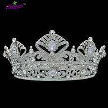2014 New Fashion Luxury Queen Crown Bride Flower Austrian Crystal Zircon Round Symmetric Tiara Wedding Pageant SHA8649