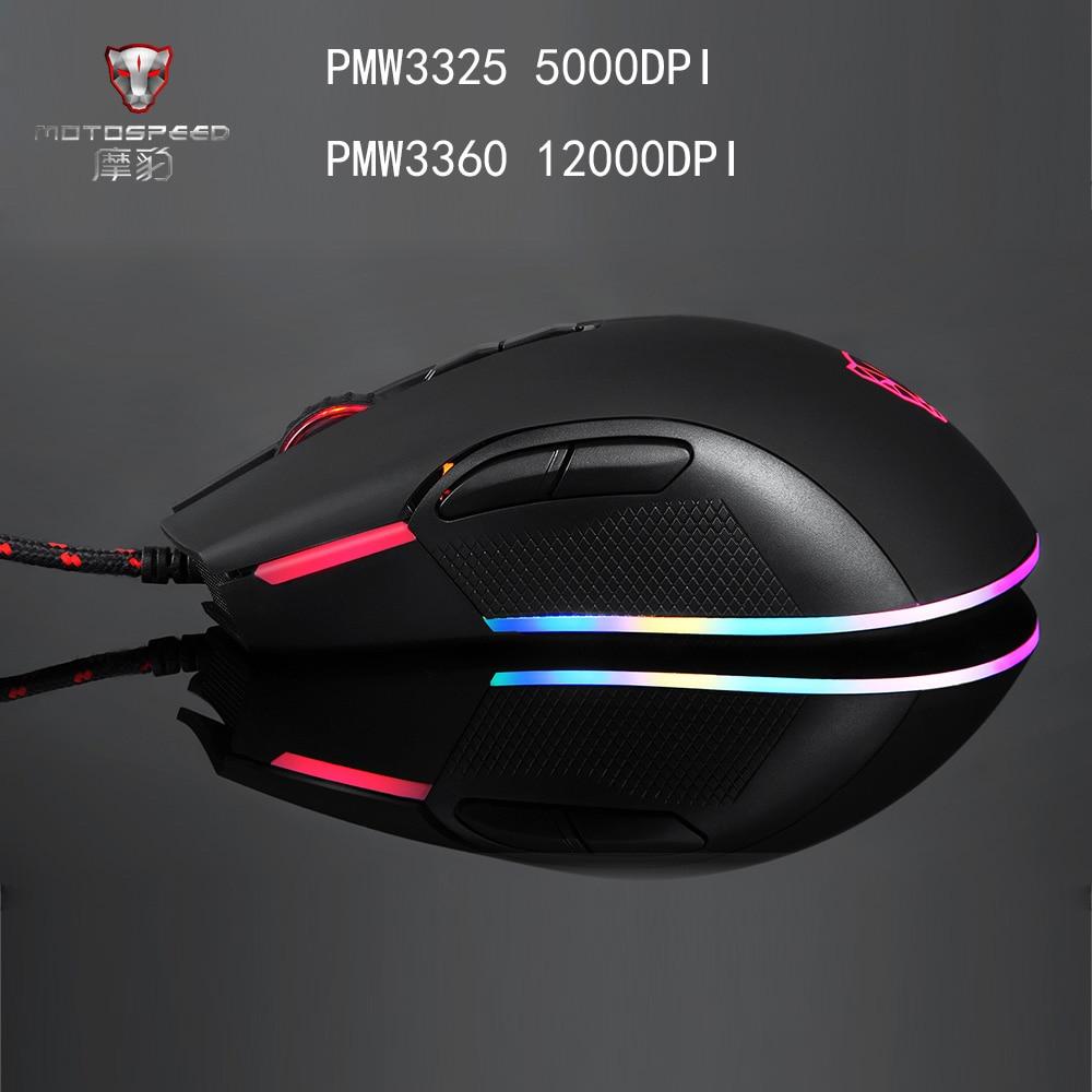 Motospeed V70 USB Wired Gaming Maus PMW3325/PMW3360 5000/12000 DPI Computer RGB Led-hintergrundbeleuchtung Maus Gamer Optische für PUBG