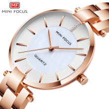 MINI FOCUS Women's Rose Gold Wrist Watches Simple Stainless Steel Bracelet Waterproof Dress Quartz Watch for Lady Woman 0224Rose abrray waterproof lady wrist watch rose gold color quartz woman hours best fashion dress slim black pu band elegant watches