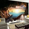 3d mural papel de parede para o pôr do sol seascape da caverna longa galeria foto papel de parede para sala de estar sofá tv pano de fundo capa
