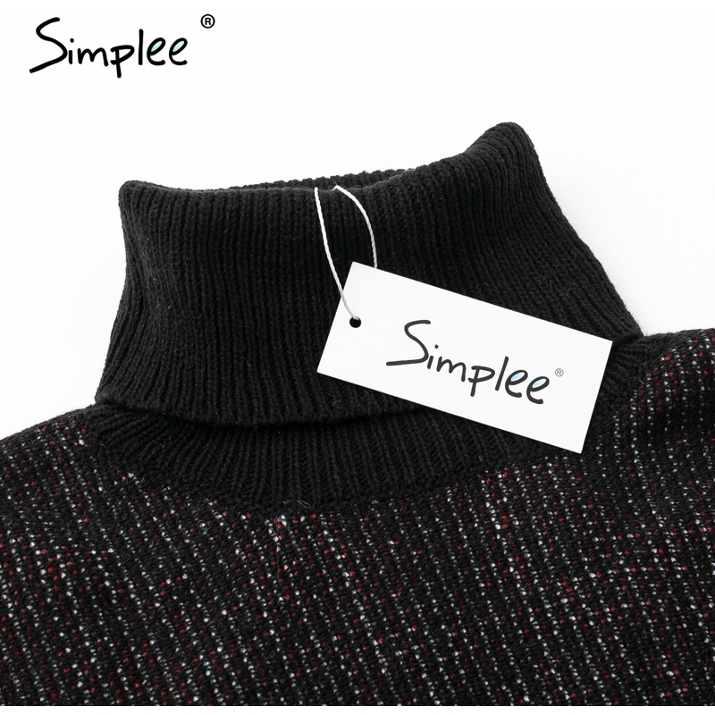 Knitted turtleneck cloak black casual jumper sweaters