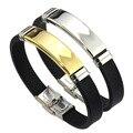 MeMoliss Wholesale Fashion jewelry Silicone Rubber Men Braclet Stainless Steel Bracelet Bangle