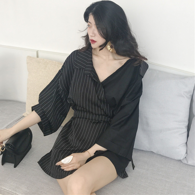 Gothic Girls Long Shirt Women Spring Summer Tops Personality Streetwear White Black Contrast Color Patchwork Striped Shirt Tunic in Blouses amp Shirts from Women 39 s Clothing