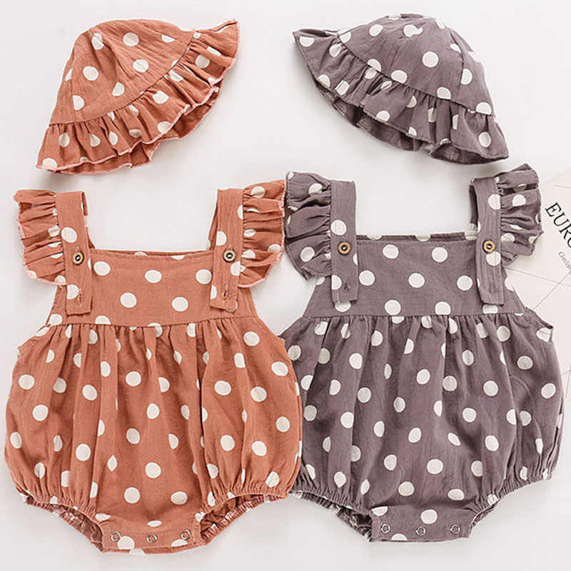 Baby Girl Romper Newborn Romper Baby Clothes Summer Girl sleeveless Cotton Dot Clothes Princess Infant Girls Jumpsuit With Hat