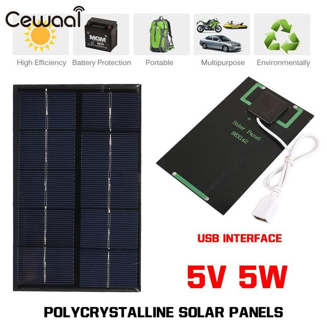 ab4648e1275fd5 USB Solar Panel Outdoor 5W 5V Portable Solar Charger Pane Climbing Fast  Charger Polysilicon Tablet Solar Generator Travel
